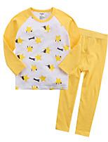 cheap -Unisex Print Sleepwear, Cotton Long Sleeves Simple Yellow Royal Blue