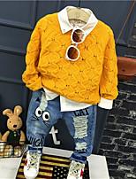 preiswerte -Jungen Kleidungs Set Alltag Solide Andere Winter Herbst Langarm Gelb