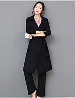 cheap -Women's Daily Casual Winter Fall Set Pant Suits,Solid V-neck Long Sleeve Polyester