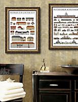 Недорогие -Архитектура Натюрморт Иллюстрации Предметы искусства,ПВХ материал с рамкой For Украшение дома Предметы искусства в рамках Гостиная Кухня
