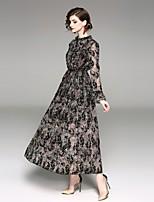 abordables -Gaine Robe Soirée Chic de Rue,Imprimé Col Arrondi Maxi Manches longues Polyester Printemps Eté Taille médiale Micro-élastique Epais