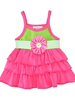 cheap -Baby Girl's Birthday Daily Color Block Dress, Cotton Cute Active Sleeveless Fuchsia