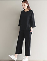 cheap -Women's Daily Going out Casual Spring Fall Set Pant Suits,Solid Round Neck Long Sleeve Linen
