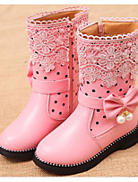 cheap -Girls' Shoes Leatherette Winter Fall Comfort Fashion Boots Boots Mid-Calf Boots for Casual Pink Red Black