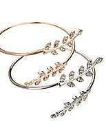 abordables -Femme Manchettes Bracelets Diamant synthétique simple Cadeau Zircon Alliage Forme de Feuille Bijoux
