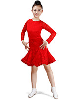 cheap -Latin Dance Dresses Children's Performance Cotton Lace Pattern / Print Ruching Long Sleeves High Dress