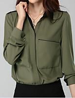 abordables -Chemise Femme,Couleur Pleine Travail Sortie simple Rétro Printemps Manches longues Col en V Coton Acrylique