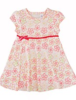 cheap -Baby Girl's Daily Floral Dress, Cotton Simple Casual Short Sleeves White Beige
