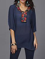 Недорогие -Для женщин Повседневные Блуза V-образный вырез,На каждый день Однотонный Другое