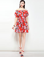 cheap -Women's Cute Street chic Boho Swing Dress - Floral, Print Off Shoulder