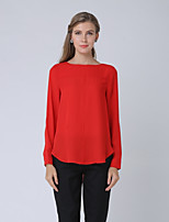 cheap -SHE IN SUN Women's Daily Casual Spring Shirt,Color Block Round Neck Long Sleeve Opaque