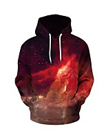 cheap -Men's Daily Geometric Hooded Hoodie Regular, Long Sleeves Spring Fall Polyester