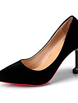 cheap -Women's Shoes PU Spring Fall Comfort Heels Stiletto Heel for Wedding Casual Black Red Almond