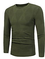 cheap -Men's Daily Casual Regular Pullover,Solid Round Neck Long Sleeves Wool Blend Winter Opaque Micro-elastic