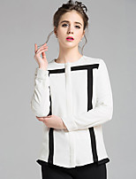 cheap -Women's Casual/Daily Street chic Shirt,Color Block Round Neck Long Sleeves Polyester