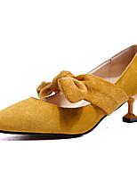cheap -Women's Shoes PU Spring Summer Comfort Heels Kitten Heel Bowknot for Casual Black Beige Yellow