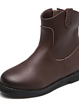 cheap -Girls' Shoes Cowhide Winter Fall Comfort Combat Boots Boots Mid-Calf Boots for Casual Dark Brown Black