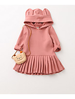 cheap -Girl's Solid Dress,Polyester Spring Long Sleeve Simple Blushing Pink