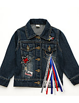 cheap -Girls' Daily School Solid Jeans Quotes & Sayings Suit & Blazer,Cotton Polyester Long Sleeves Vintage Casual Blue
