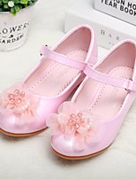 cheap -Girls' Shoes PU Spring Fall Comfort Flower Girl Shoes Tiny Heels for Teens Heels for Casual White Pink
