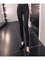 cheap -Women's Shiny Metallic Polyester Medium Solid Color Legging,Solid Black