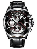 Недорогие -Муж. Модные часы Китайский Кварцевый Календарь Защита от влаги Хронометр Фосфоресцирующий Натуральная кожа Группа Cool Мода Черный