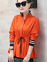economico -Camicia Da donna Per uscire Casual Moda città Tinta unita Colletto alla coreana Cotone Manica lunga