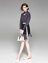 cheap -EWUS Women's Work Shirt - Striped Skirt Shirt Collar