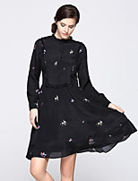 cheap -Women's Daily Going out Sophisticated Street chic A Line Sheath Swing Above Knee Dress, Floral Ruched Print Stand Long Sleeves