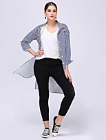 cheap -Women's Daily Casual All Seasons Shirt,Striped Shirt Collar Long Sleeve Polyester