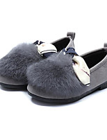 cheap -Girls' Shoes Flocking Spring Fall Comfort Flower Girl Shoes Loafers & Slip-Ons for Casual Red Brown Gray Black