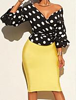 Недорогие -Жен. Повседневные Весна Блуза,Глубокий V-образный вырез Простой Однотонный Горошек Длинные рукава Хлопок Полиэстер