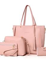 preiswerte -Damen Taschen PU Bag Set 4 Stück Geldbörse Set Quaste für Normal Winter Schwarz Rosa Kamel Grau