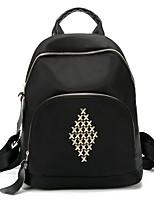 cheap -Women's Bags Polyester Nylon Backpack Beading Zipper for Casual All Seasons Black