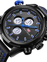 Недорогие -Муж. Повседневные часы Наручные часы Японский Кварцевый ЖК экран С двумя часовыми поясами Повседневные часы Натуральная кожа Группа