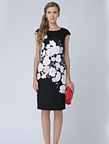 cheap -Women's Work Going out Casual Street chic A Line Midi Dress, Floral Print Round Neck Short Sleeves