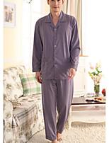 abordables -Costumes Pyjamas Homme,Fleur Moyen Polyester Gris Violet