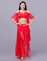 cheap -Belly Dance Outfits Women's Training Performance Cotton Modal Split Half Sleeves Dropped Skirts Tops Hip Scarf