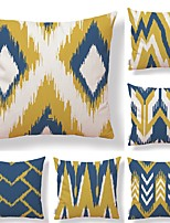 cheap -6 pcs Textile Cotton/Linen Pillow Cover, Plaid/Checkered Geometric Color Block