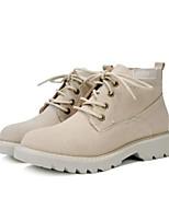 Недорогие -Жен. Обувь Бархатистая отделка Полиуретан Зима Осень Удобная обувь Ботинки На низком каблуке Закрытый мыс Ботинки для Повседневные на