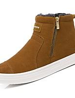 Недорогие -Для мужчин обувь Нубук Зима Модная обувь Ботинки Сапоги до середины икры для Повседневные Черный Желтый Светло-серый