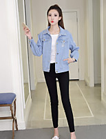 cheap -Women's Daily Casual Winter Denim Jacket,Solid Round Neck Short Sleeve Regular Cotton Acrylic Pleated