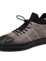 Недорогие -Муж. обувь Полиуретан Свиная кожа Весна Осень Меховая подкладка Удобная обувь Кеды для Повседневные Черный Серый