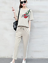 cheap -Women's Casual/Daily Simple Summer T-shirt Pant Suits,Floral Quotes & Sayings Round Neck Long Sleeves Cotton