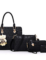cheap -Women Bags PU Polyester Bag Set 4 Pieces Purse Set Zipper for Casual All Season Fuchsia Purple Beige Red Black