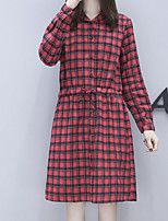cheap -Women's Daily Vintage A Line Dress,Striped Shirt Collar Knee-length Long Sleeve Polyester Fall Mid Rise Micro-elastic Opaque