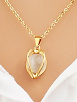 cheap -Women's Heart Asian Fashion Elegant Pendant Necklace Chain Necklace Cubic Zirconia Gold Plated Pendant Necklace Chain Necklace , Wedding