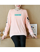 cheap -Women's Casual/Daily Cute Blouse,Solid Round Neck Long Sleeves Cotton