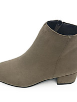 cheap -Women's Shoes Nubuck leather Winter Fall Comfort Bootie Boots Flat Heel for Casual Black Beige Khaki