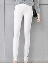 cheap -Women's Stylish Polyester Medium Solid Color Legging,Solid Black White